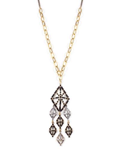 Gloria Long Crystal Pendant Necklace