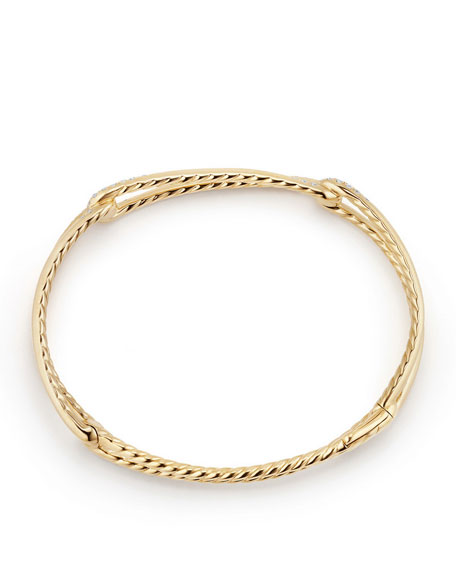9mm Continuance 18K Gold Bracelet with Diamonds, Size S