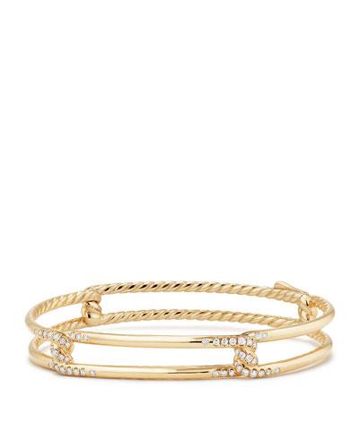 9mm Continuance 18K Gold Bracelet with Diamonds, Size S