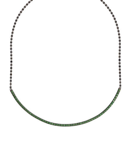 LANA Electric Circle Bar Choker Necklace with Green