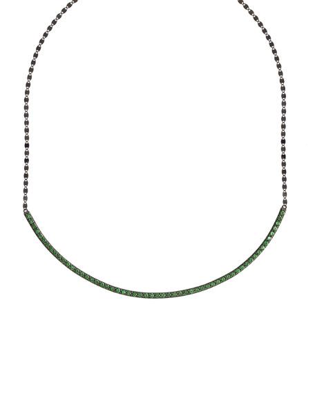 Electric Circle Bar Choker Necklace with Green Tsavorite