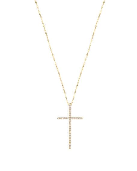 Flawless Diamond Cross Pendant Necklace in 14K Yellow Gold