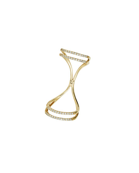 Flawless Hinged Finger Ring with Diamonds, Size 7