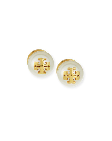 Pearly Logo Stud Earrings