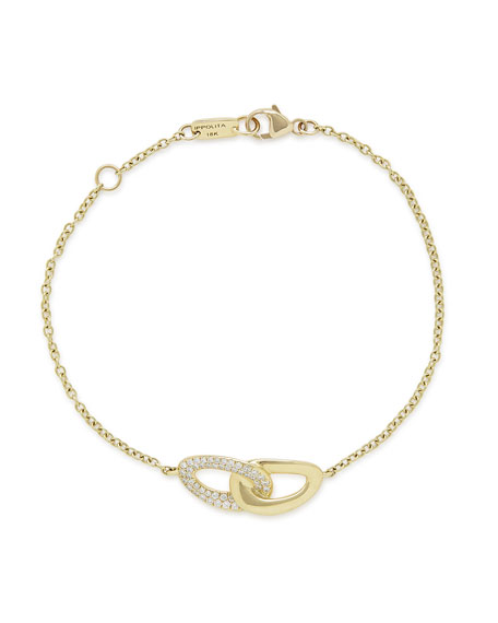 18K Gold Cherish Link Bracelet with Diamonds