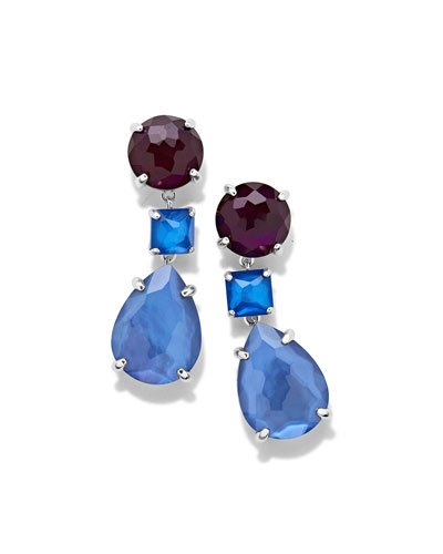 925 Wonderland Three-Drop Earrings in Indigo