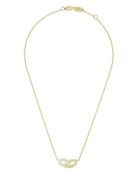 18K Gold Cherish Intertwined Link Necklace with Diamonds