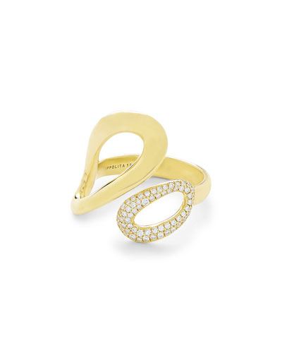 18K Gold Cherish Small Bypass Ring with Diamonds