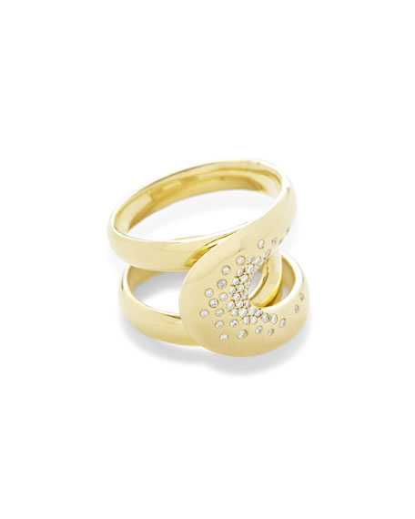 18K Cherish Overlapping Link Ring with Diamonds, Size 7
