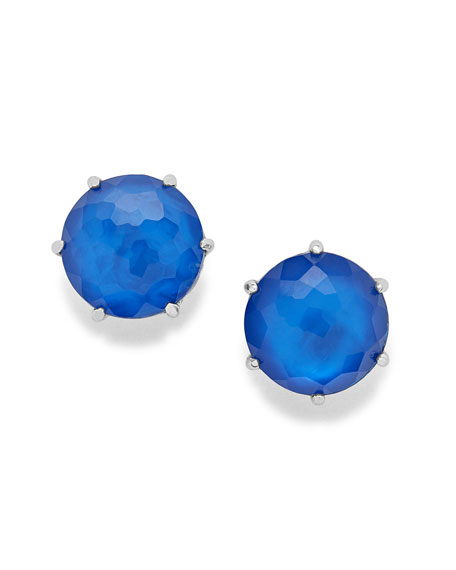 925 Wonderland Medium Round Stud Earrings in Cobalt