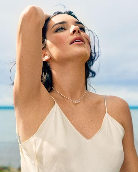 Cherish Link Stud Earrings with Diamonds