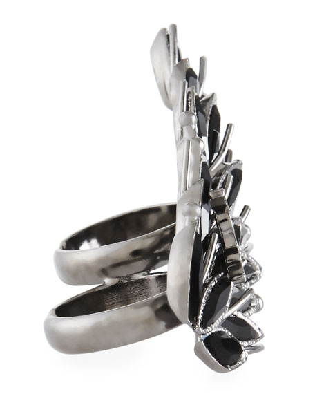 Crystal Marquis Two-Finger Ring