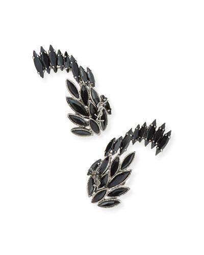 Marquis Crystal Huggie Clip-On Earrings