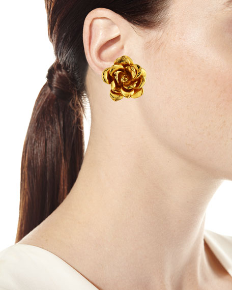Golden Flower Button Clip-On Earrings