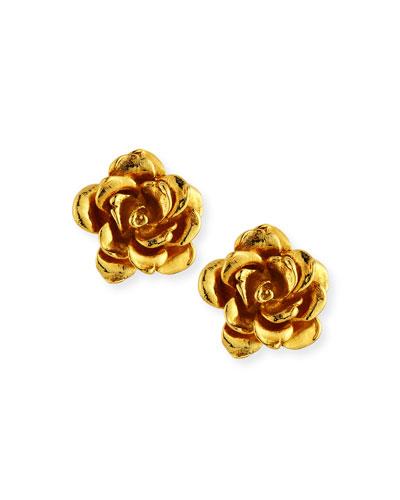 Golden Flower Button Clip-On Earrings