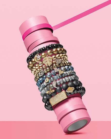 10mm Smooth Labradorite Beaded Bracelet with Diamond & Sapphire Bee Charm