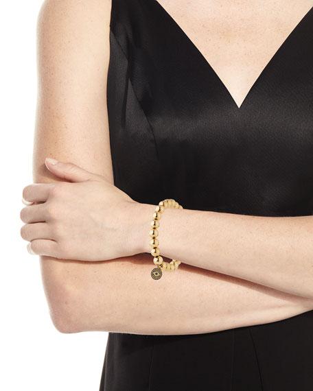 8mm Golden Beaded Bracelet with Diamond Eye Medallion Charm