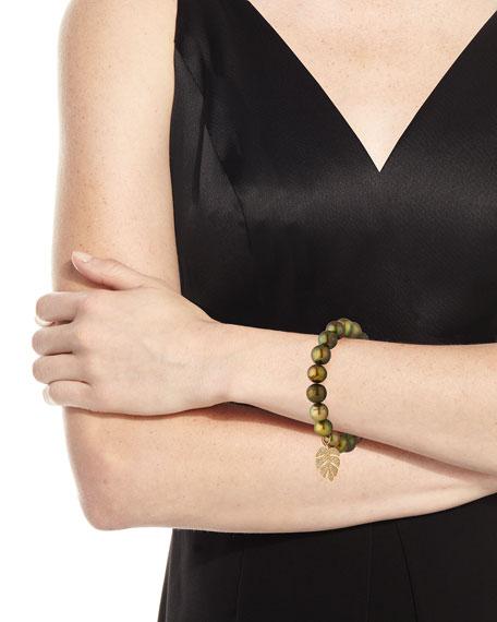 Sydney Evan Olive Pearl Beaded Bracelet with Diamond Monstera Leaf Charm UrERCsny