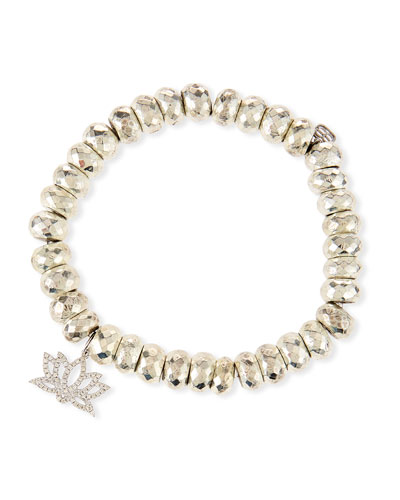 Pyrite Bead Bracelet with Diamond Lotus Charm