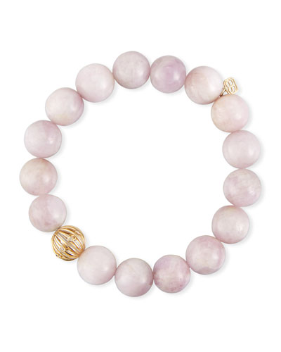 10mm Kunzite Beaded Bracelet with Diamond Bezel Ball