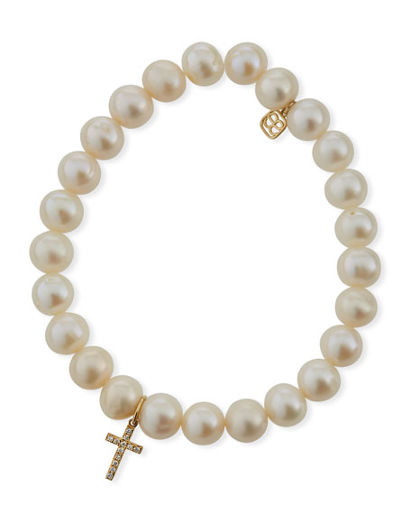 Sydney Evan Beaded Pearl & Diamond Cross Bracelet