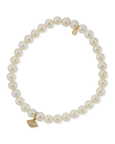 Diamond Eye & Beaded Pearl Bracelet