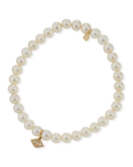 Sydney Evan Diamond Eye & Beaded Pearl Bracelet O8m0eP