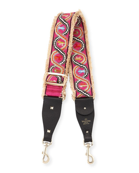 Rockstud Guitar Shoulder Strap with Embroidered Snakes