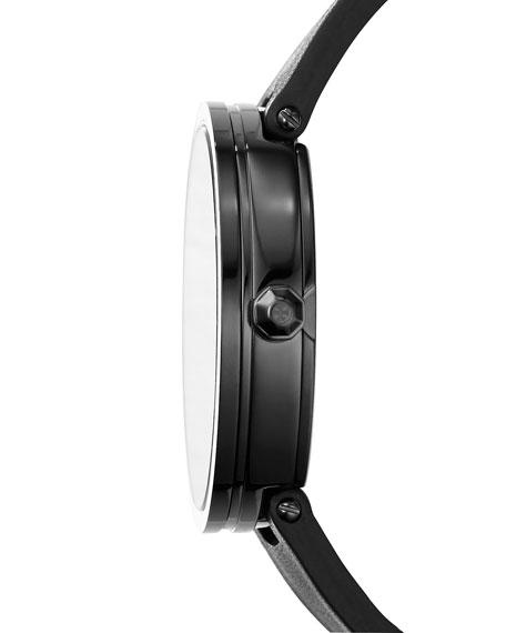 The Reva Three-Hand Leather Strap Watch, Black/Golden