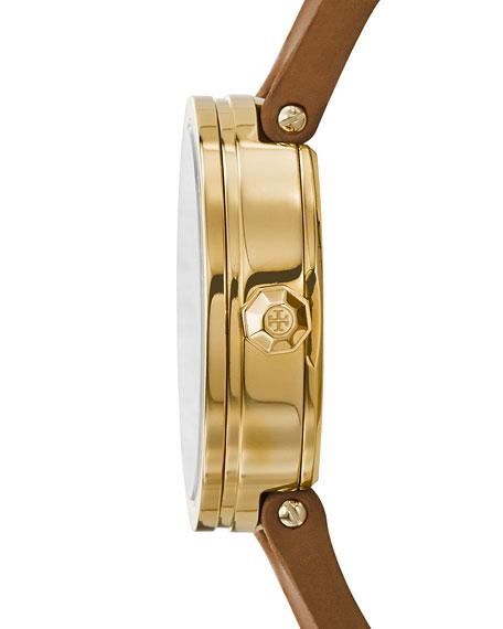 The Reva Three-Hand Leather Strap Watch, Light Brown/Golden