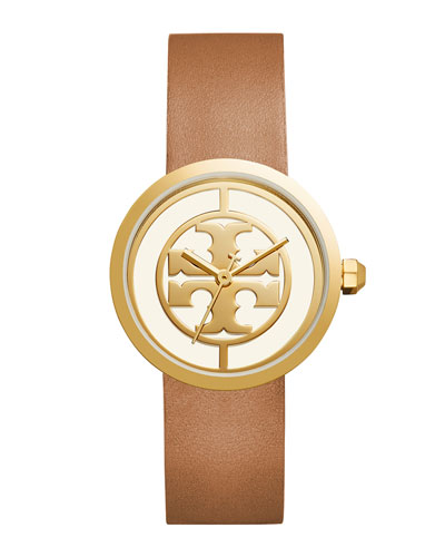 The Reva Three-Hand Leather Strap Watch, Light Brown/Golden