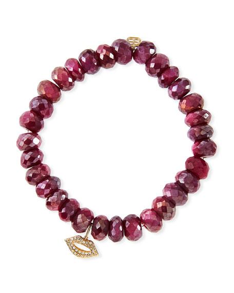 8mm Red Moonstone Beaded Bracelet with Diamond Lips Charm
