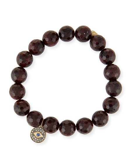 Sydney Evan Champagne Pyrite Beaded Bracelet with Diamond Butterfly Medallion Charm