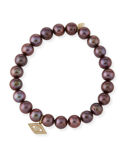 Anniversary Brown Pearl Bracelet with Diamond Evil Eye Charm