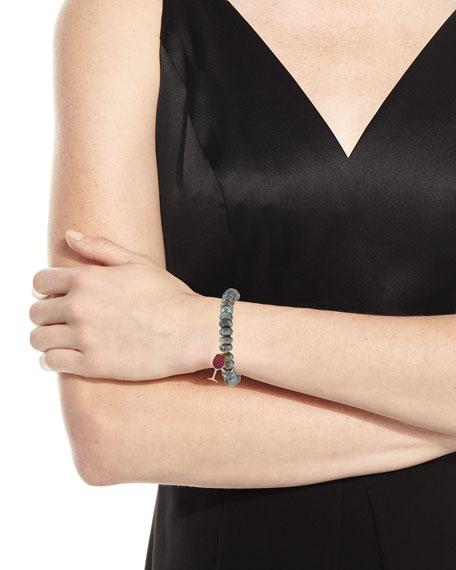 10mm Labradorite Beaded Bracelet with Ruby Wine Glass Charm