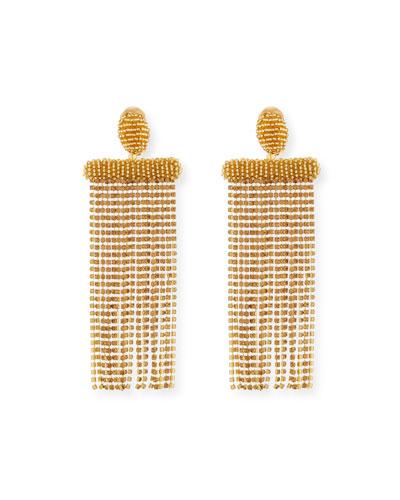 Beaded Waterfall Tassel Clip-On Earrings
