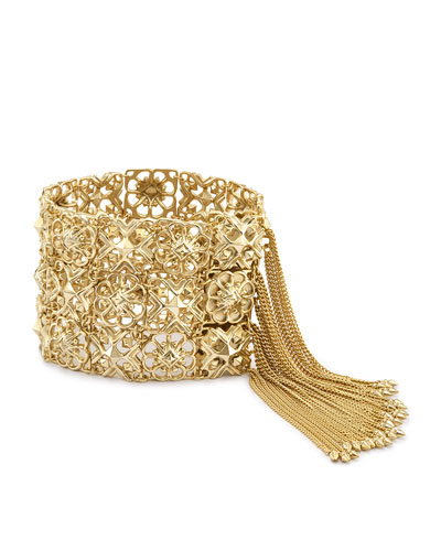 Iris Chain Tassel Cuff Bracelet