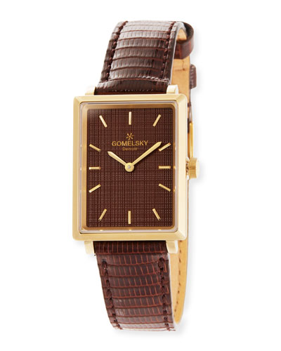 The Shirley 32mm Watch with Brown Lizard Strap