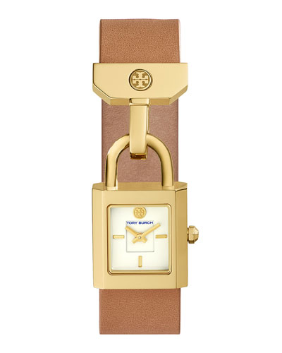 Surrey Padlock Multilink Bracelet Watch, Light Brown/Golden