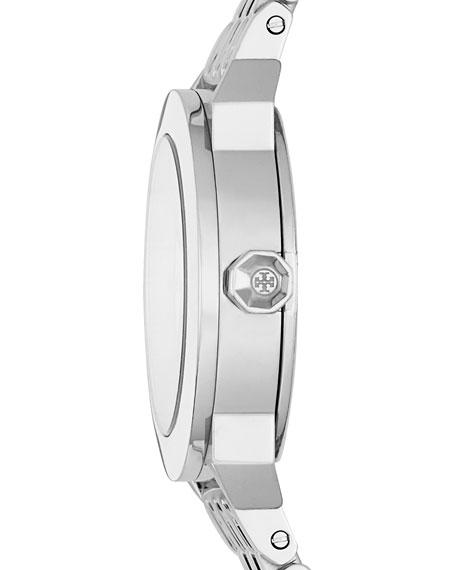 Whitney Bracelet Strap Watch, Silvertone/White