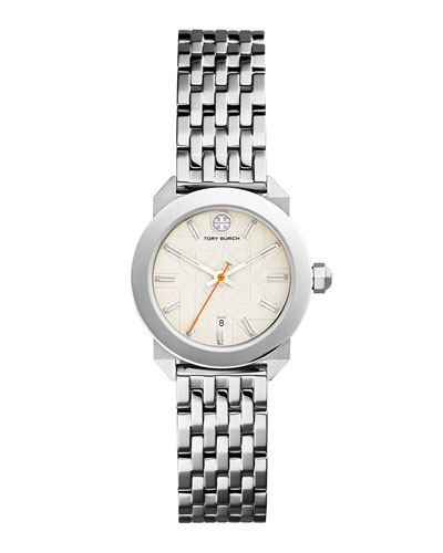 Whitney Bracelet Strap Watch, Silvertone/White