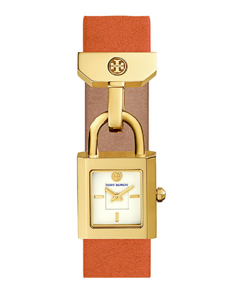 Surrey Padlock Multilink Bracelet Watch, Orange/Golden