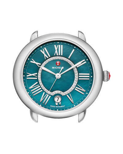 Serein 16 Mid Stainless Steel Watch Head with Diamonds, Silver/Teal