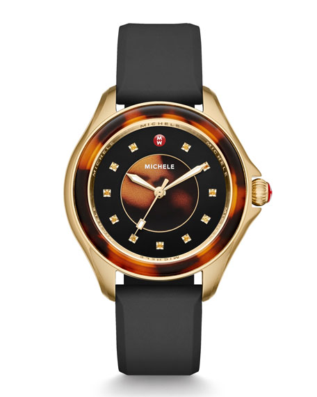 MICHELE Cape Tortoiseshell Topaz Watch with Black Strap