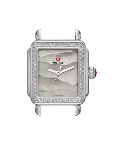 18mm Deco Diamond Watch Head with Gray Dial