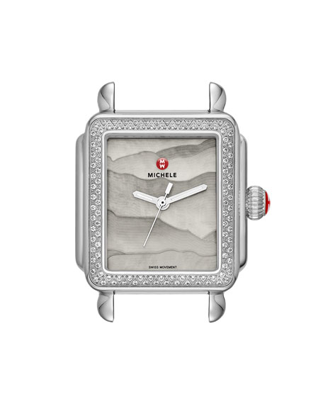 MICHELE 18mm Deco Diamond Watch Head with Gray