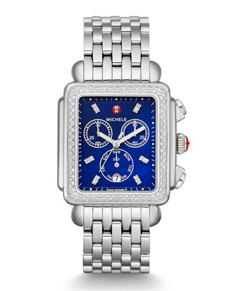 Deco Diamond XL Bracelet Watch with Diamonds in Blue/Silver