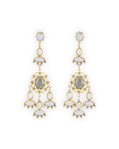 Crystal Bezel Chandelier Earrings