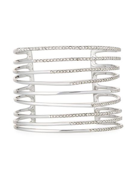 Multi-Row Silvertone Crystal Origami Cuff Bracelet