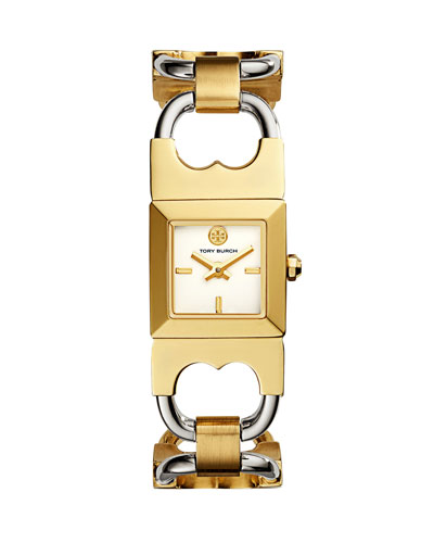 Double T Two-Tone Link Bracelet Watch